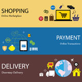Paiement en ligne d'achats d'Internet et icônes plates s de concept de la livraison Photos stock