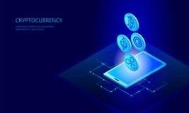 Paiement en ligne de cryptocurrency de pièce de monnaie d'ondulation d'Ethereum Bitcoin de smartphone de Web numérique de cellule illustration de vecteur