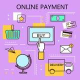 Paiement en ligne Internet et concept mobile de vente Pour des services de Web et de téléphone portable et des apps Illustration  Photos stock