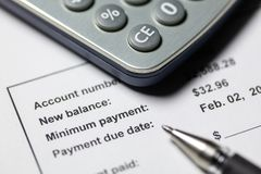 Paiement minimum de carte de crédit photographie stock libre de droits