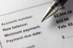 Paiement minimum de carte de crédit image stock
