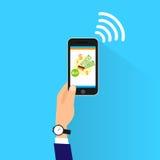 Paiement mobile avec le nfc futé de téléphone de cellules Photo libre de droits