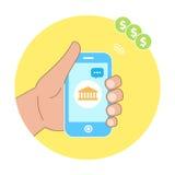 Paiement mobile de banque, téléphone de participation de main Message de banque Images stock