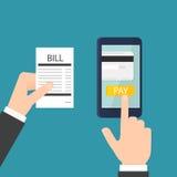 Paiement mobile de facture illustration stock