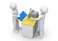 Paiement par par la carte de crédit sur le bureau d'argent comptant illustration libre de droits