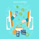 Paiements d'argent en ligne d'achats de site Web de commerce électronique Photographie stock