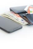 Paiements ou commerce électronique de téléphone portable photographie stock libre de droits