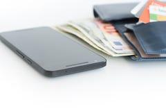 Paiements ou commerce électronique de téléphone portable images libres de droits