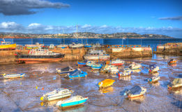 Paignton harbour Devon England uk in colourful HDR with boats and view to Torquay Royalty Free Stock Photo
