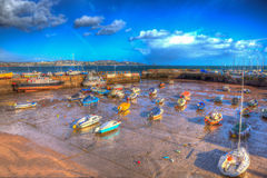 Paignton harbour Devon England uk in colourful HDR with boats and view to Torquay Royalty Free Stock Image