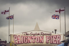 Paignton pier. Amusement arcade on a cloudy, stormy day Royalty Free Stock Image