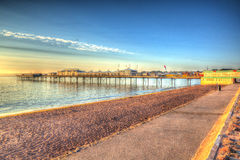 Paignton pier Devon England colourful HDR on warm summer morning with blue sky Stock Photography