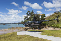 PAIHIA, APRIL 02, 2014:  Sightseeing Helicopter in Paihia Royalty Free Stock Photography