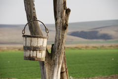 Pail. A wood pail from a water source Royalty Free Stock Photography