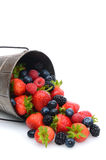 Pail with Berries Spilling Out. A pail laying on its side with assorted berries spilling out. Vertical format with copy space Royalty Free Stock Photography