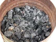 Pail of charcoal Stock Image