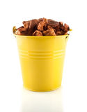 Pail with dried fruits. Pail with dried apples and apricots stock photo