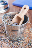 Pail of dry lavender Stock Image