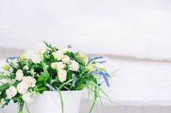 Pail with flowers on a white background royalty free stock photography