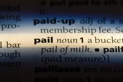 Pail. Word in a dictionary.  concept royalty free stock photos