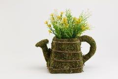 Paille de riz de pot de fleurs sur le fond blanc Photo libre de droits