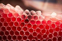 Pailles blanches avec la ligne rouge (pour le cocktail) Photos libres de droits