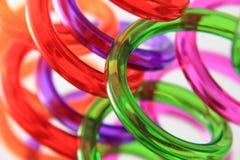 Pailles en spirale de plastique de couleur image stock
