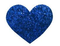 Paillette bleue de scintillement rond dans la forme de coeur Photographie stock libre de droits