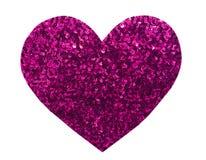Paillette ronde de rose de scintillement dans la forme de coeur Photos stock