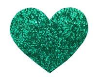 Paillette ronde de vert de scintillement dans la forme de coeur Photographie stock