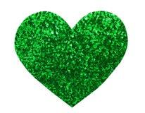 Paillette ronde de vert de scintillement dans la forme de coeur Images stock