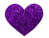 Paillette violette de scintillement rond dans la forme de coeur Image stock