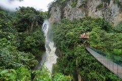 Pailon台尔蝙蝠鱼瀑布,厄瓜多尔 免版税图库摄影