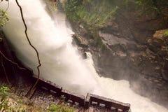 Pailon Del Diablo, Devils Cauldron Waterfall Stock Photo