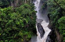 Pailon Del Diablo waterfall, in Banos de Agua Santa Royalty Free Stock Photography
