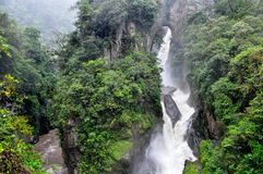 Pailon Del Diablo waterfall, in Banos de Agua Santa Stock Photo