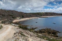 Paimogo海滩在Lourinha,葡萄牙 库存照片