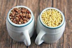 Painço e trigo mourisco Foto de Stock Royalty Free
