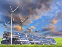 Painéis da energia solar e turbina de vento Fotografia de Stock