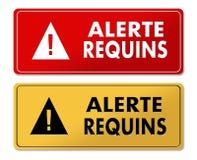 Painéis de advertência alertas do tubarão na tradução francesa ilustração stock