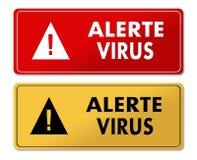 Painéis de advertência alertas do vírus na tradução francesa ilustração royalty free