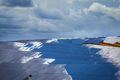 Painéis de baterias solares Fotografia de Stock