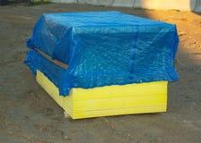 Painéis de Gyproc ou madeira compensada de madeira no canteiro de obras Foto de Stock