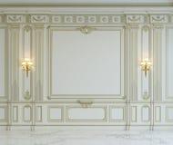 Painéis de parede brancos no estilo clássico com gilding rendição 3d Fotografia de Stock