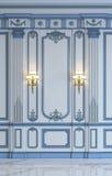 Painéis de parede clássicos em tons azuis com gilding rendição 3d Imagem de Stock Royalty Free