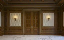 Painéis de parede de madeira no estilo clássico com gilding rendição 3d Imagem de Stock Royalty Free