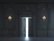 Painéis de parede pretos no estilo clássico com gilding rendição 3d Fotos de Stock