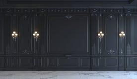 Painéis de parede pretos no estilo clássico com prateamento rendição 3d Imagens de Stock