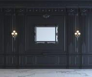 Painéis de parede pretos no estilo clássico com prateamento rendição 3d Foto de Stock