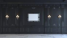 Painéis de parede pretos no estilo clássico com prateamento rendição 3d Fotografia de Stock